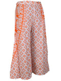 Block Print Jaipuri Palazzo Pants In White & Orange - PJRTPP14JL25