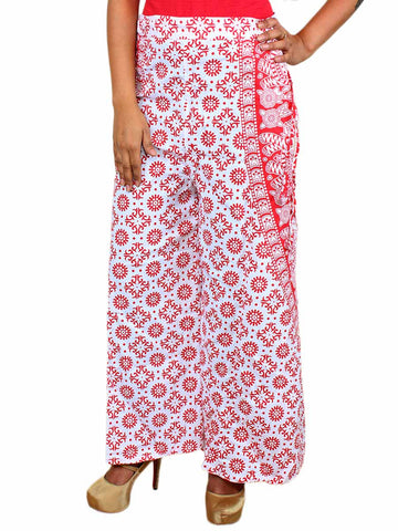 Block Print Jaipuri Palazzo Pants In White & Red - PJRTPP14JL5