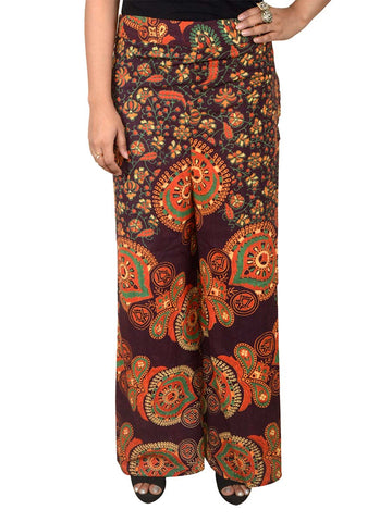 Block Print Jaipuri Palazzo Pants In Dark Green - PJRTPP21AP3
