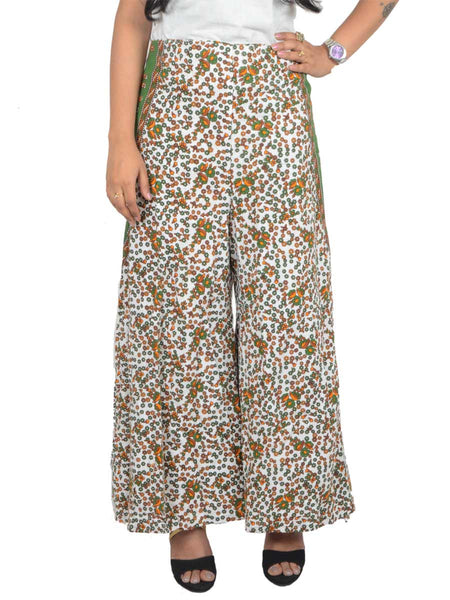 Block Print Jaipuri Palazzo Pants In White & Green - PJRTPP22JN15
