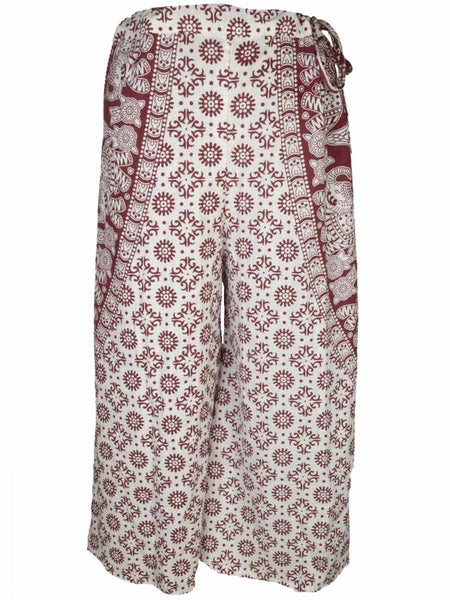 Block Print Jaipuri Palazzo Pants In White & Sandy Brown - PJRTPP4JL32