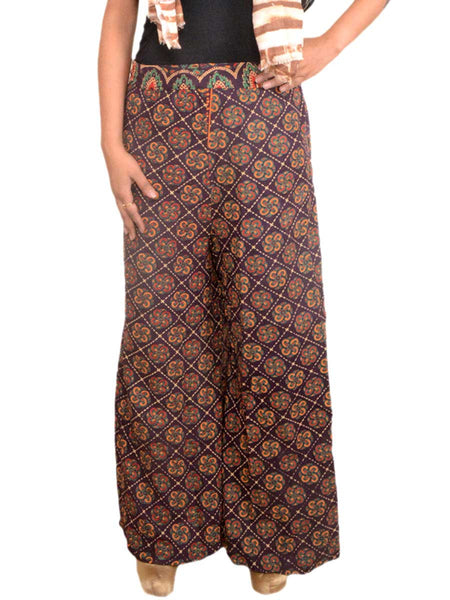 Block Print Jaipuri Palazzo Pants In Brown - PJRTPP5JNY12