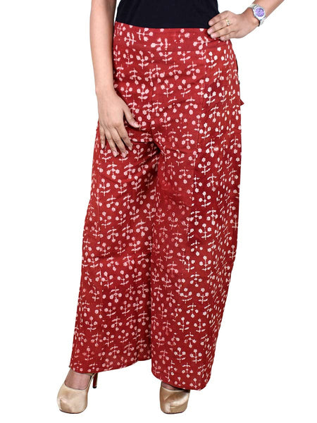 Hand Block Printed Palazzo Pants From Jaipur In Scarlet Red - PJRTPPB13AP4