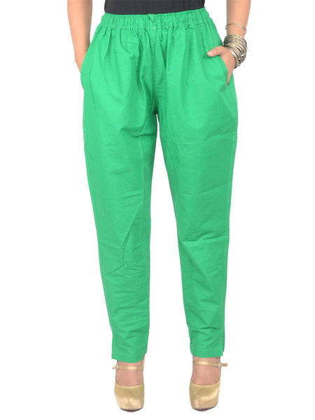 Cotton Straight Pants From Madhya Pradesh In Green - PJRTS29AP2