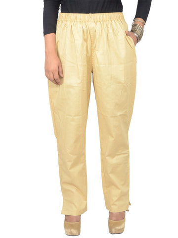 Cotton Straight Pants From Madhya Pradesh In Beige - PJRTS29AP3