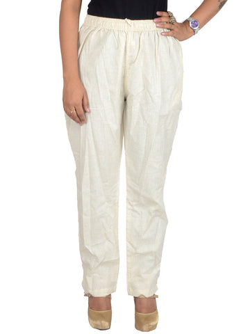 Cotton Straight Pants From Madhya Pradesh In Cream Color - PJRTS29AP4