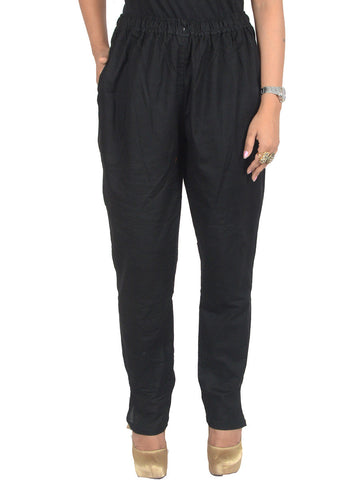 Cotton Straight Pants From Madhya Pradesh In Black - PJRTS29AP6