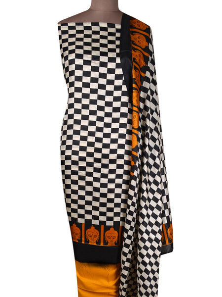 Bhagalpuri Art Silk Suit In Black & White - PKBS21SP25