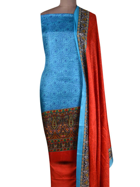 Bhagalpuri Art Silk Suit In Blue - PKBS21SP43