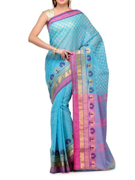 Banarasi Saree In Sky Blue & Pink - S1-OPBUSA25SP11
