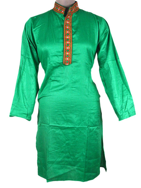Kutch Embroidered Cotton Kurta From Gujarat In Mint Green - PKGKM21MH4
