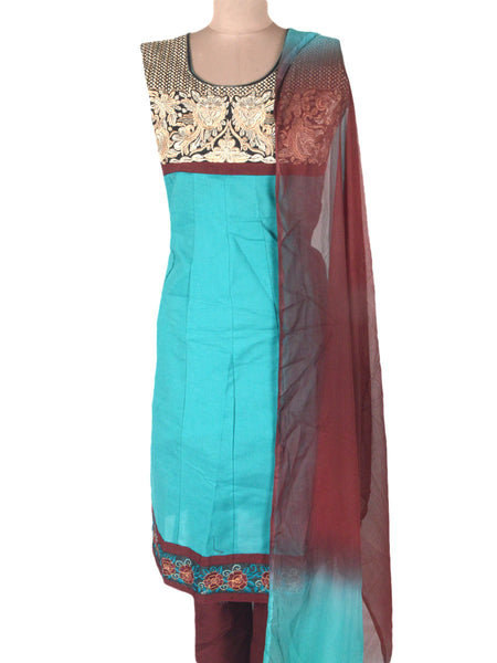 Embroidered Frock From Ahmedabad In Sky Blue - ND-PKGKN11MA6
