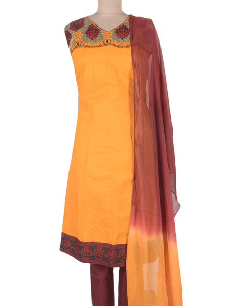 Embroidered Frock From Ahmedabad In Orange - ND-PKGKN11MA8