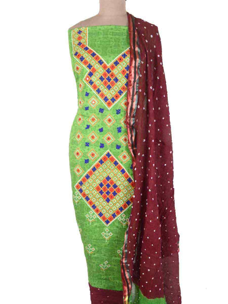 Bandhej Suit From Gujarat In Green & Brown - PKGS27MA105