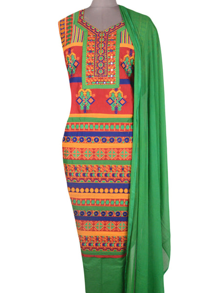 Suit From Gujarat In Yellow-Red & Green - PKGS29MH49