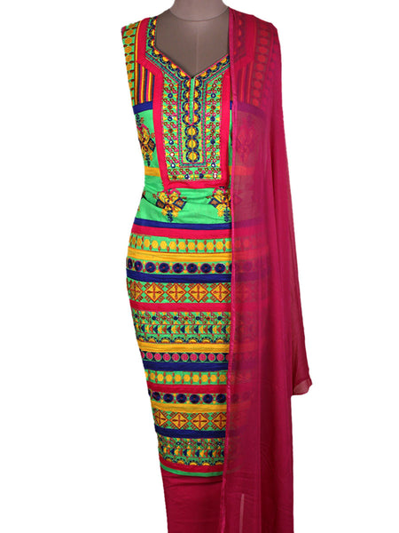 Suit From Gujarat With Embroidery In Multi Color - PKGS3FBY10