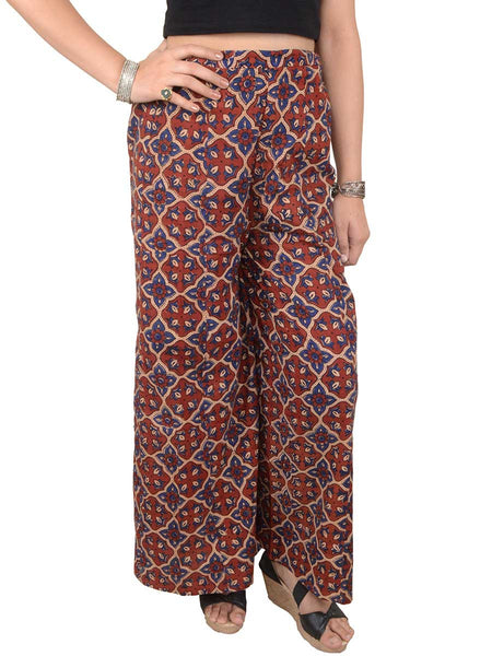 Ajrakh Print Palazzo Pants From Gujarat In Sepia Base Colour - PKGTPP9MY3