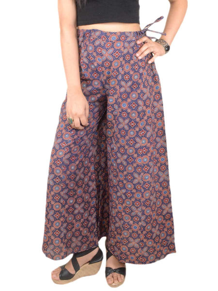 Ajrakh Print Palazzo Pants From Gujarat In Blue Base Colour - PKGTPP9MY5