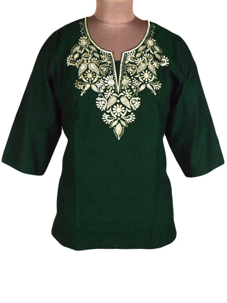 Short Kurti With Embroidery In Green From Madhya Pradesh - PKMSK4NR3