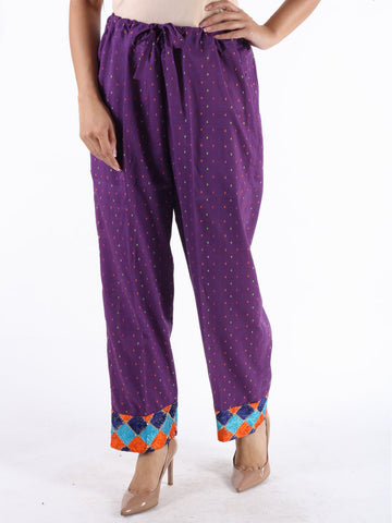 Palazzo Pants In Purple With Phulkari Embroidery - PKPP16OT41