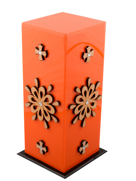 Floral Wooden Block Acrylic Orange Table Lamp - EC-HJRME24MA72