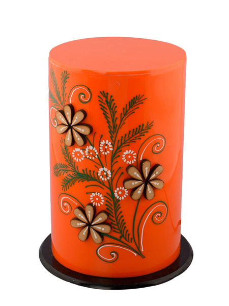 Floral Wooden Block Acrylic Orange Round Table Lamp - EC-HJRME24MA149
