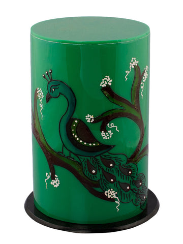 Bird Painted Acrylic Green Round Table Lamp - EC-HJRME24MA151