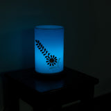 Floral Wooden Block Acrylic Blue Round Table Lamp - EC-HJRME24MA152