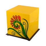 Flower Painted Acrylic Yellow Cubical Table Lamp - EC-HJRME24MA153