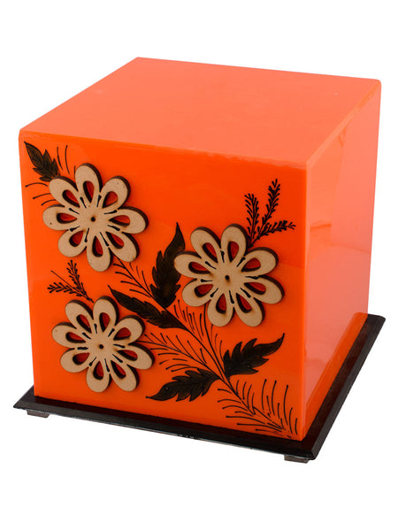 Floral Wooden Block Acrylic Orange Cubical Table Lamp - EC-HJRME24MA154