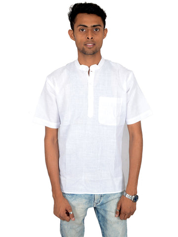 Men's Cotton Short Kurta From Lucknow In White - PLUKA29AR10