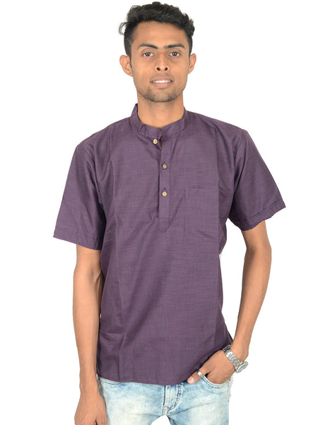Men's Cotton Short Kurta From Lucknow In Indigo - PLUKA29AR13