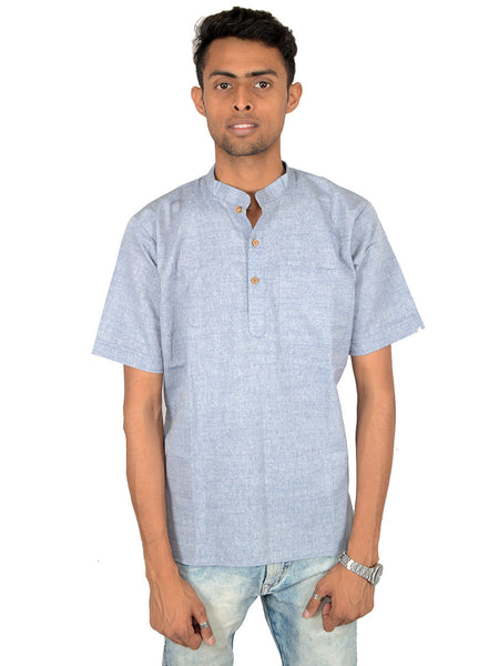 Men's Cotton Short Kurta From Lucknow In Steel Blue - PLUKA29AR18
