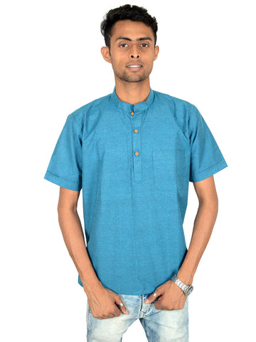 Men's Cotton Short Kurta From Lucknow In Deep Sky Blue - PLUKA29AR26