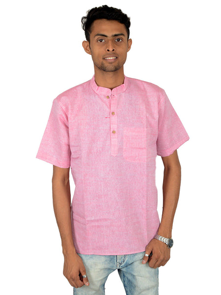 Men's Cotton Short Kurta From Lucknow In Pink - PLUKA29AR29