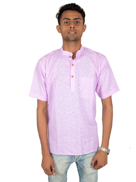 Men's Cotton Short Kurta From Lucknow In Pink - PLUKA29AR3