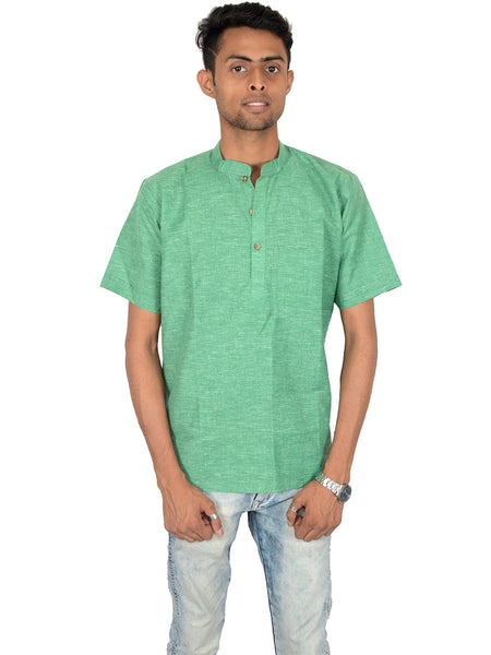 Men's Cotton Short Kurta From Lucknow In Persian Green - PLUKA29AR8