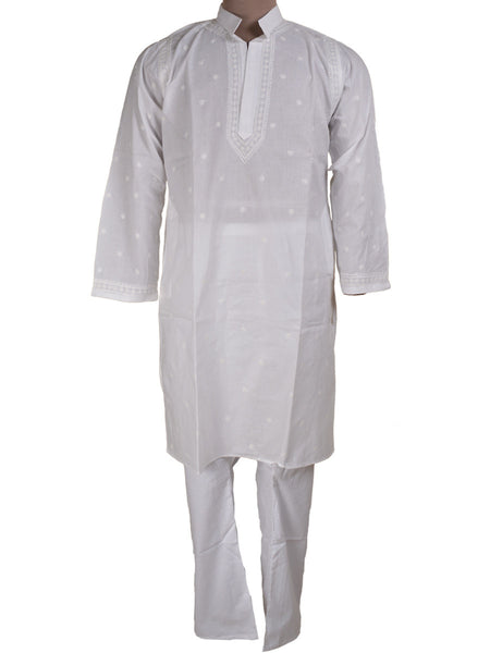 Lucknow Chikan Kurta Pyjama Set In White - PLUM26MY4