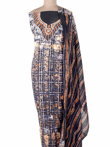Batik Print Cotton Suit From Gujarat In Blue & White - PMGSH11MA13