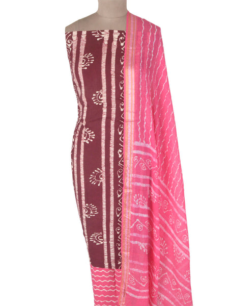 Batik Print Cotton Suit From Gujarat In Red - PMGSL11MA26