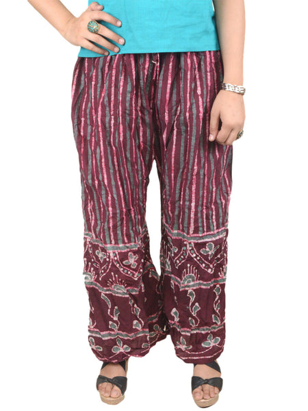 Batik Print Palazzo Pants From Gujarat In MultiColour - PMGTPP28MH16