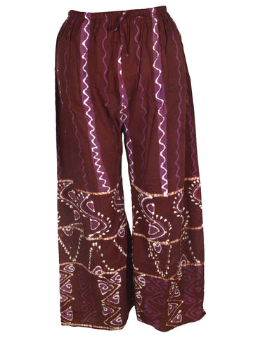 Batik Print Palazzo Pants From Gujarat In Brown - PMGTPP28MH28