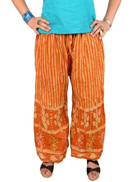Batik Print Palazzo Pants From Gujarat In Sunglow Yellow - PMGTPP28MH31