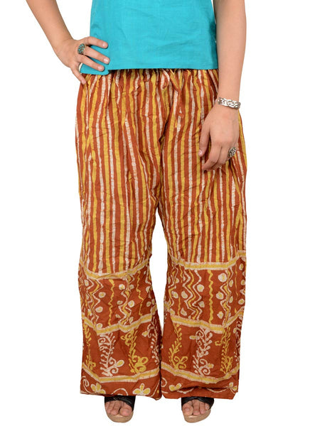 Batik Print Palazzo Pants From Gujarat In Brown - PMGTPP28MH3