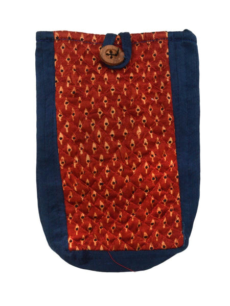 Kutch Embroidered Mashru Mobile Pouch From Gujarat In Red & Blue - PNCKGB16JN41