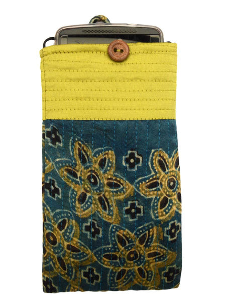 Kutch Embroidered Mashru Mobile Pouch From Gujarat In Blue & Yellow - PNCKGB16JN44