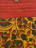 Kutch Embroidered Mashru Mobile Pouch From Gujarat In Mustered Yellow & Red - PNCKGB16JN45