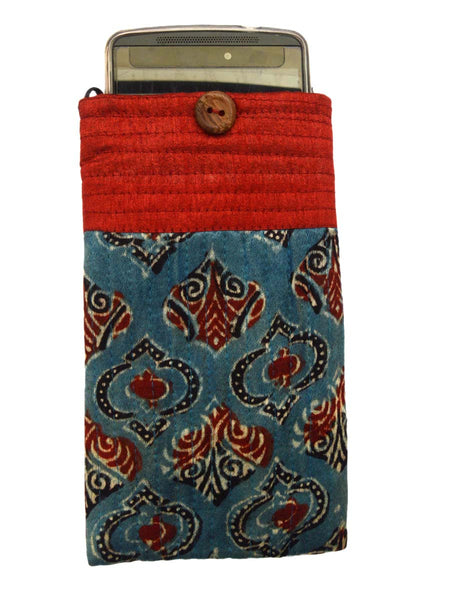 Kutch Embroidered Mashru Mobile Pouch From Gujarat In Steel Blue & Red - PNCKGB16JN46