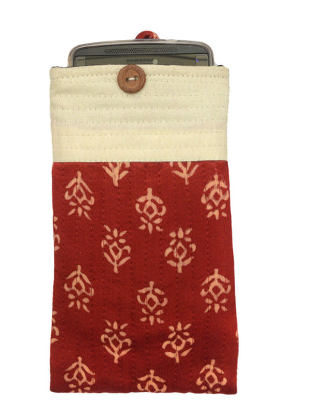 Kutch Embroidered Mashru Mobile Pouch From Gujarat In Maroon & White - PNCKGB16JN47