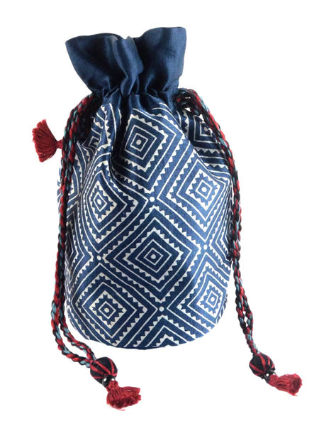 Kutch Embroidered Mashru Potli Bag From Gujarat In Royal Blue - PNCKGB16JN50